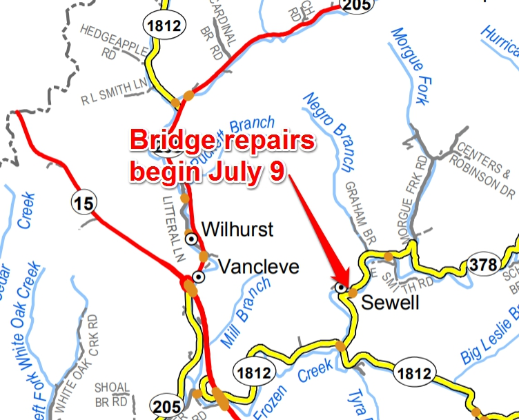Bridge replacement project to begin on KY 378 in Breathitt County